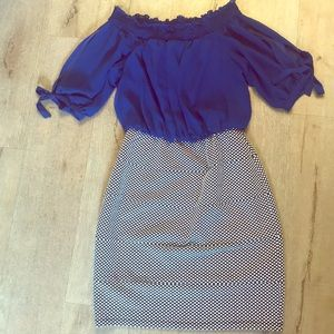 Dresses & Skirts - Summer dress. Blouse top w/ fitted skirt